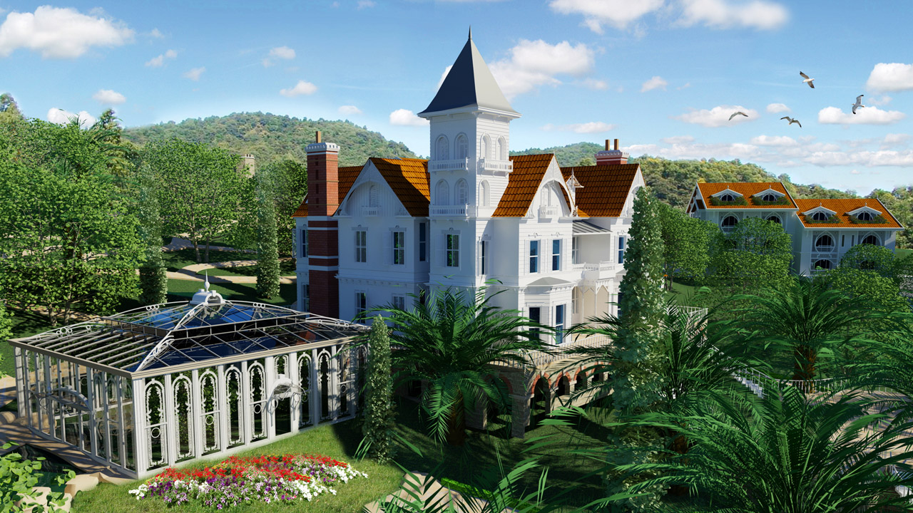 Of stunning grace in green and white: The restoration project of the historic Grand Mansion amidst a delightful Park with original waterstreams and ponds.